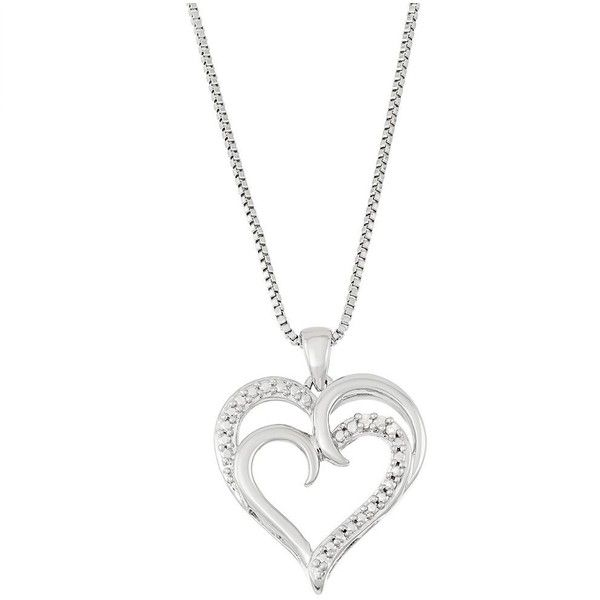 Silver Tone Diamond Accent Double Heart Pendant Necklace ($14) ❤ liked on Polyvore featuring jewelry, necklaces, white, heart necklace, heart shaped pendant necklace, chain pendants, heart pendant necklace and chain necklaces