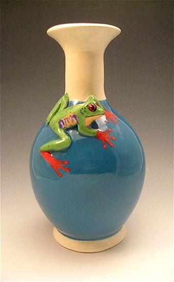 Small Turquoise Frog Vase By Lisa Scroggins Ceramic Vase