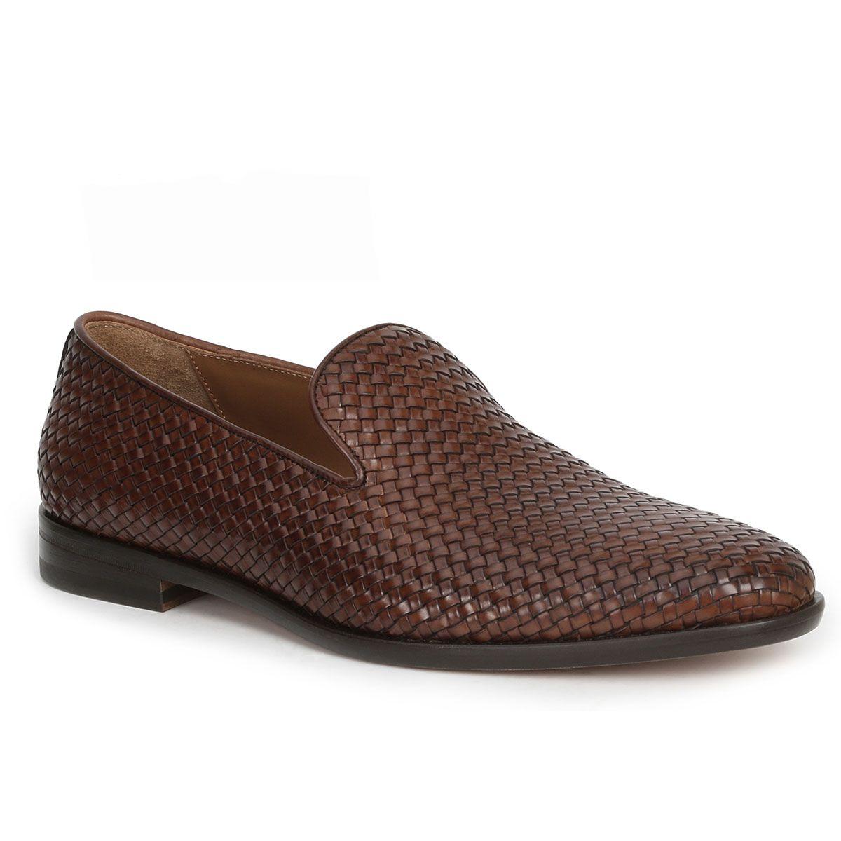 7e3e546d4d3 Bruno Magli Picasso Mens Shoes Cognac Woven Calfskin Loafers (BMS1002)