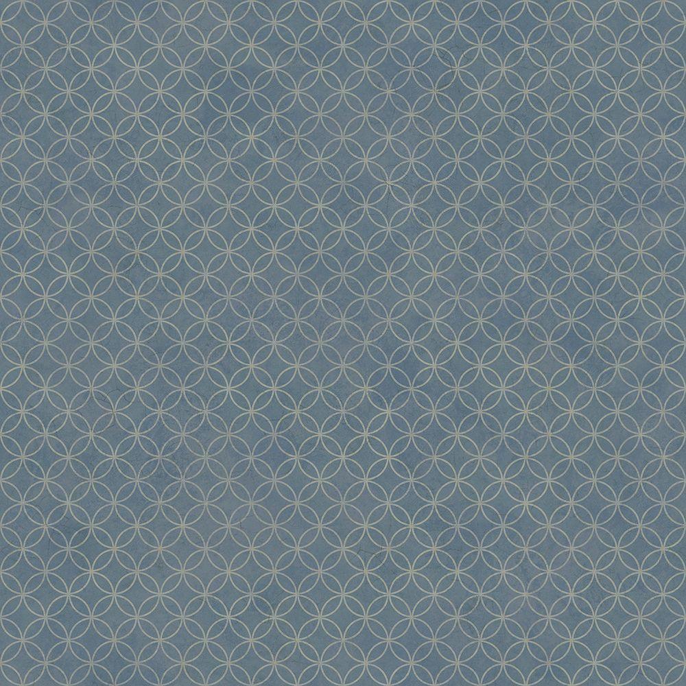 Loopy Hoops Blue Geometric Wallpaper Sample