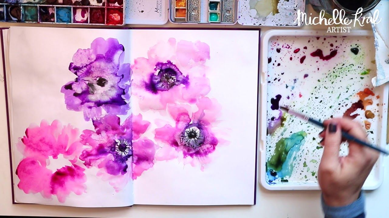 Simple Water Colour Pink Anemones In Watercolour How To Paint