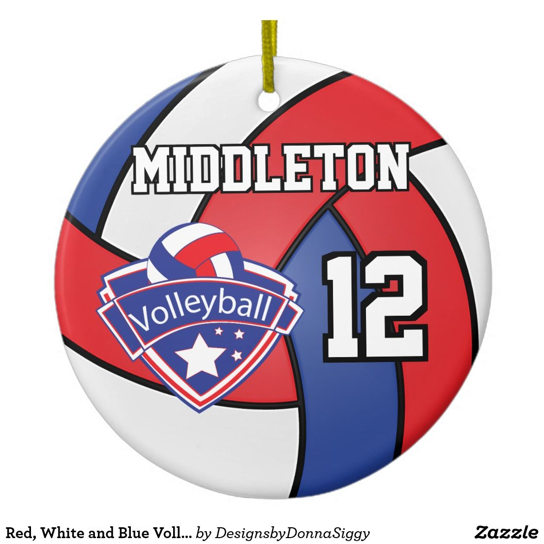 Red White And Blue Volleyball With Diy Text Ceramic Ornament Ceramic Ornaments Ornaments Blue