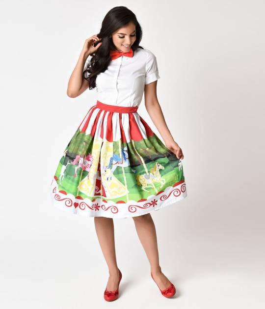 Unique Vintage 1950s Style Carousel Cotton High Waist Swing Skirt Swing  Skirt bd5878e0e