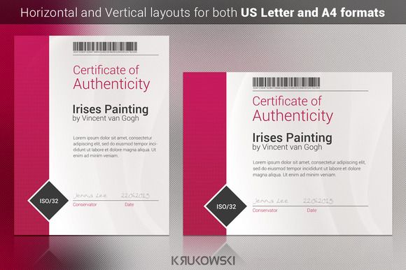Certificate of authenticity template by krukowski graphics on certificate of authenticity template by krukowski graphics on creativemarket yelopaper Gallery