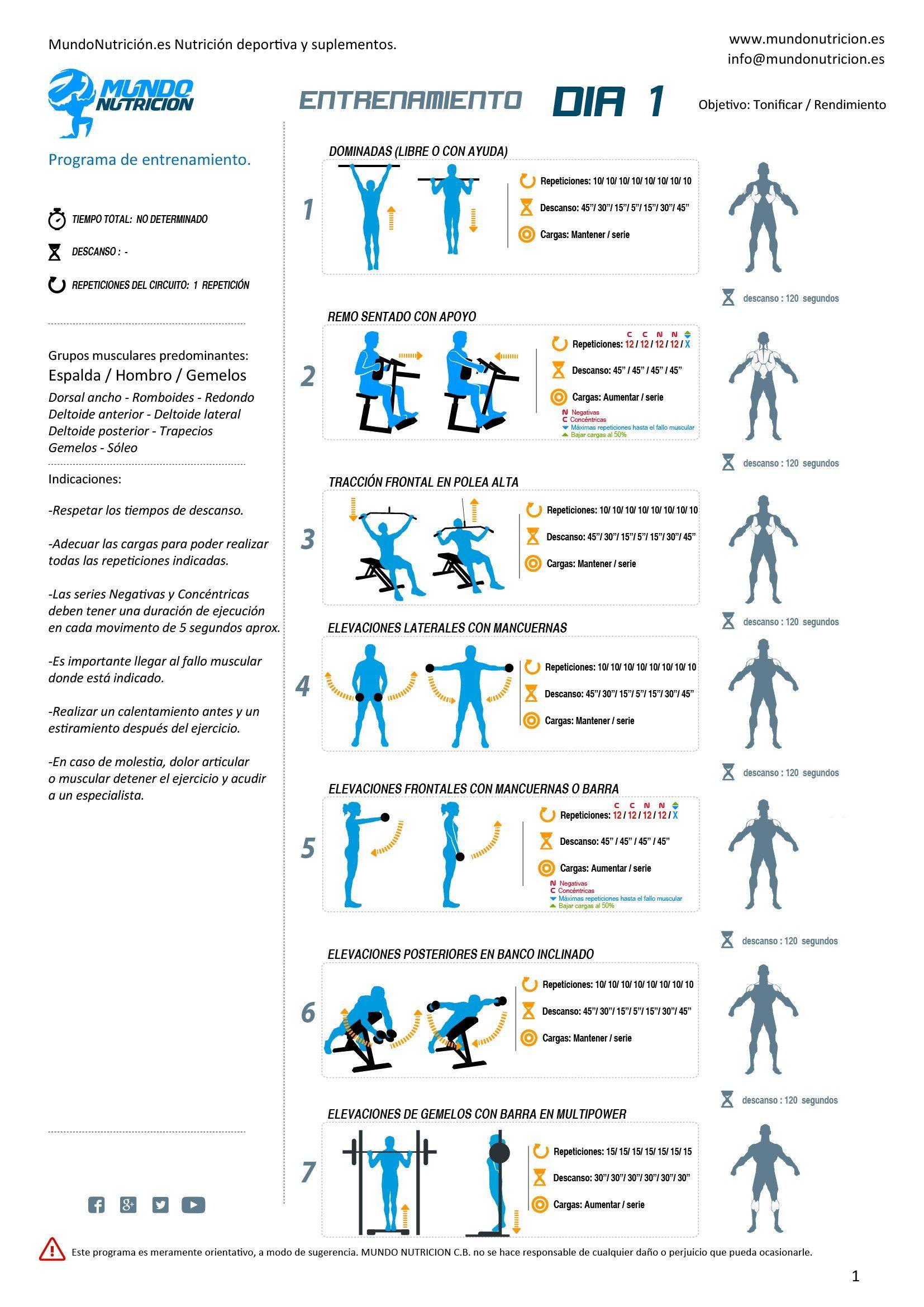 Día 1. Entrenamiento de espalda, hombros y gemelos. MundoNutrición ...