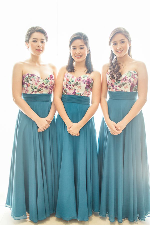 Sweetheart Fl And Blue Bridesmaid Gowns Photo Rock Paper Scissors Wedding Entourage