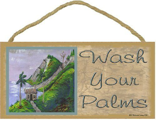 "Wash Your Palms Tropical Palm Tree Beach Ocean Bath Wall Decor Sign Plaque 5""X10"""