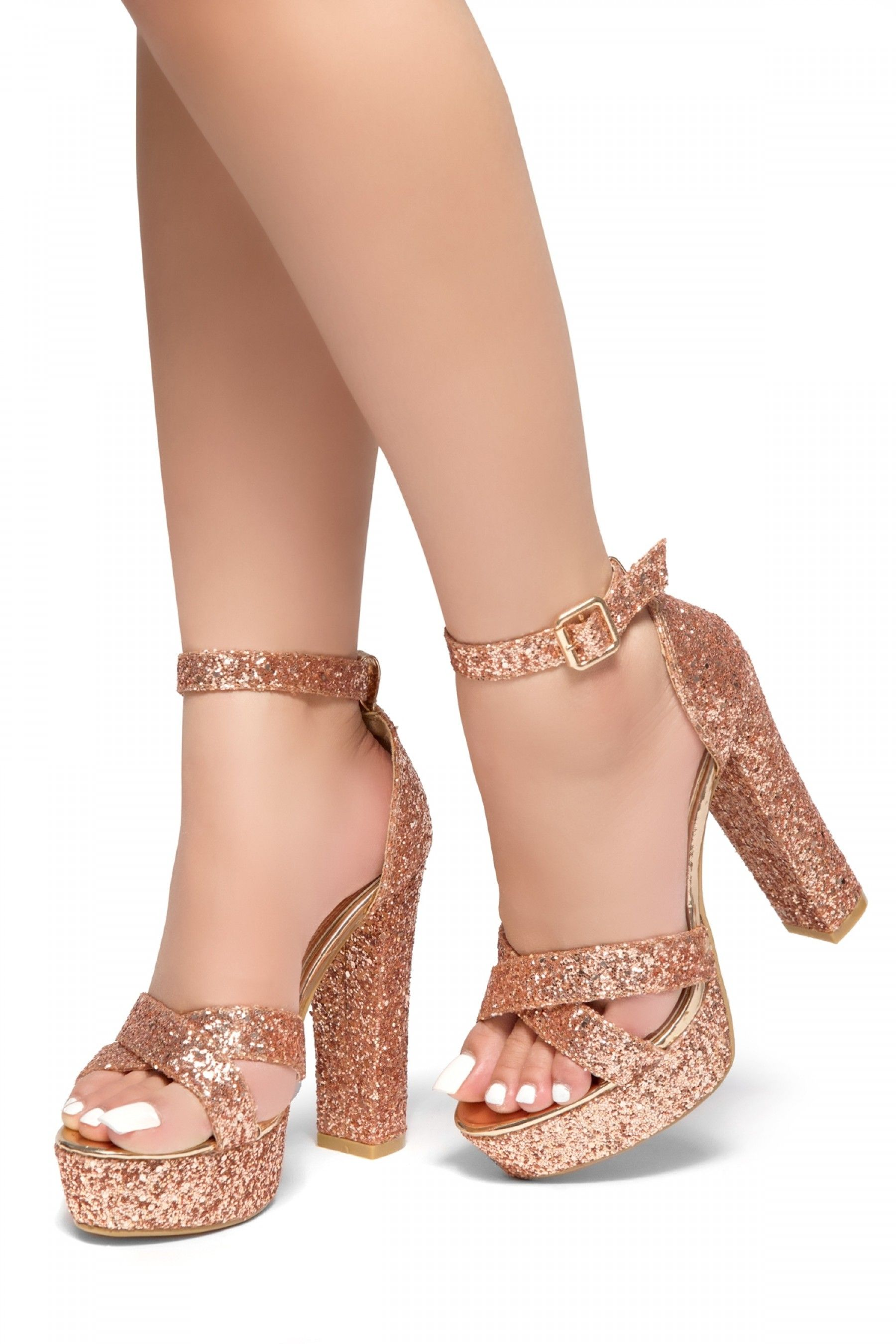 HerStyle PLAY DATE-Glitter with platform sandals (RoseGold Glitter ... e97b96c549