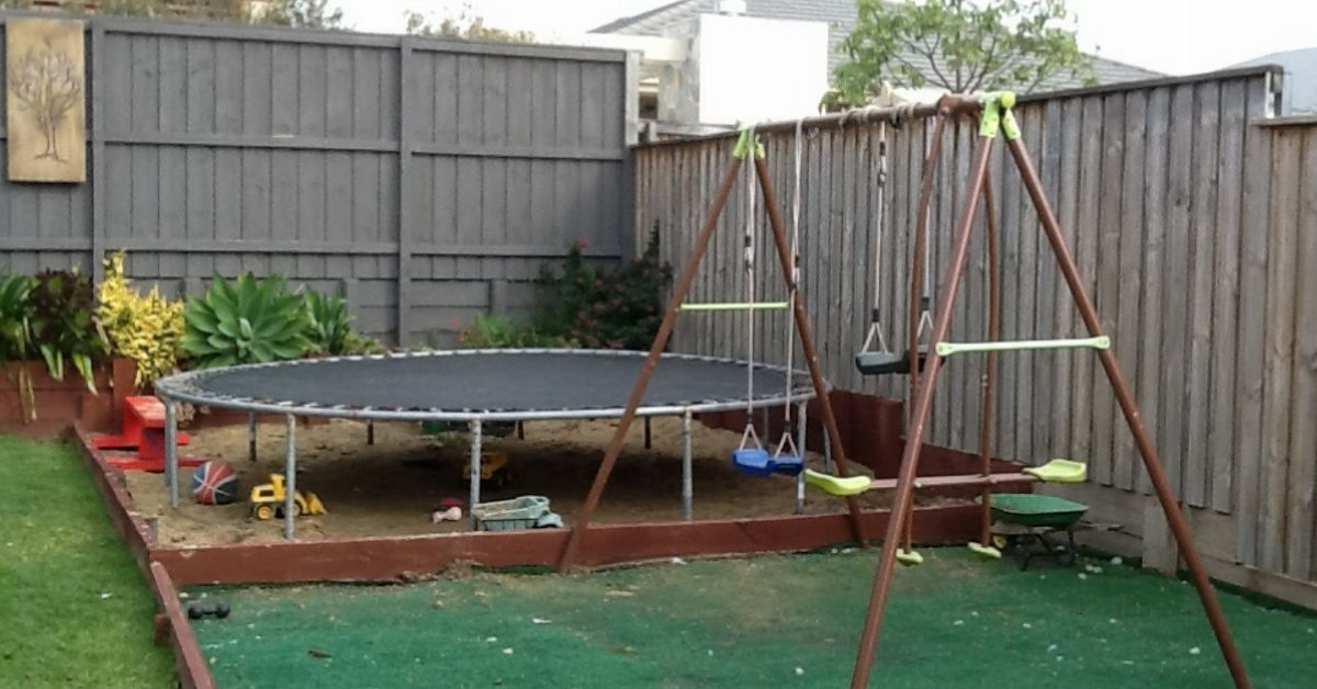 Trampoline Base Ideas For Backyard Small Backyard Landscaping Backyard Trampoline Small Backyard