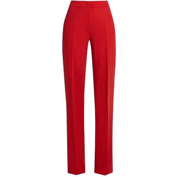 Max Mara Duomo trousers (30,590 DOP) ❤ liked on Polyvore featuring pants, red pants, maxmara, maxmara pants and red trousers