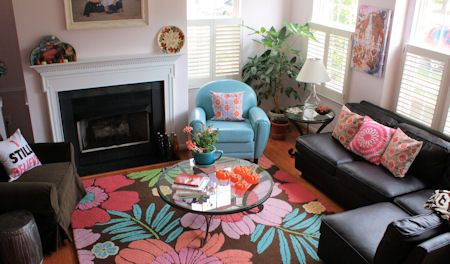 Ideas To Add Color With Our Brown Leather Sofa Bright Rug Throw Pillows Colorful For The