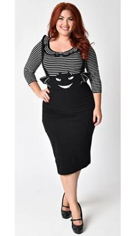 fe374ba120 Unique Vintage Plus Size 1950s Black Bat Sabrina Suspender Pencil Skirt