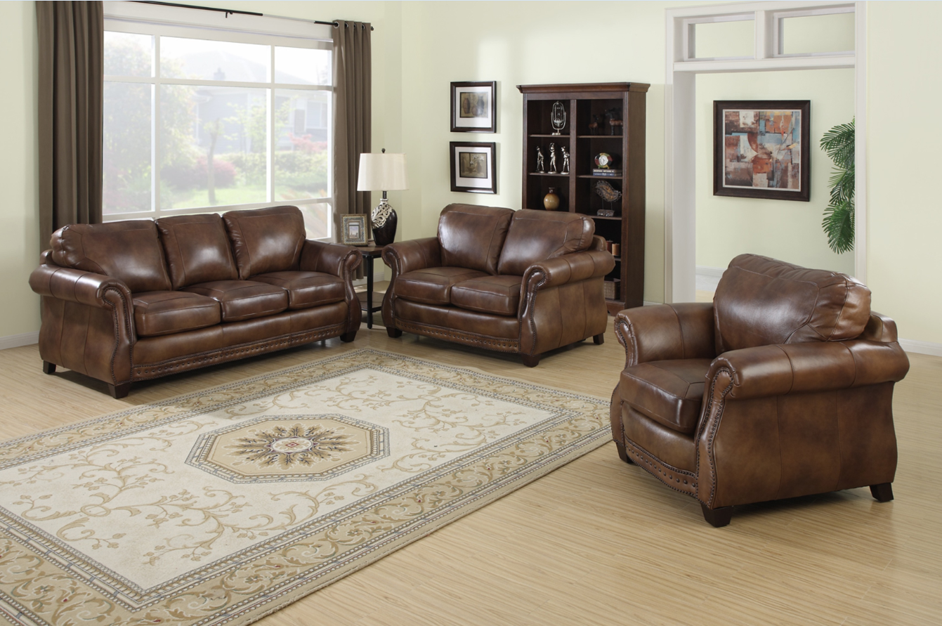- Get This Beautiful Brown Italian Leather 3 Piece Sofa Set Today