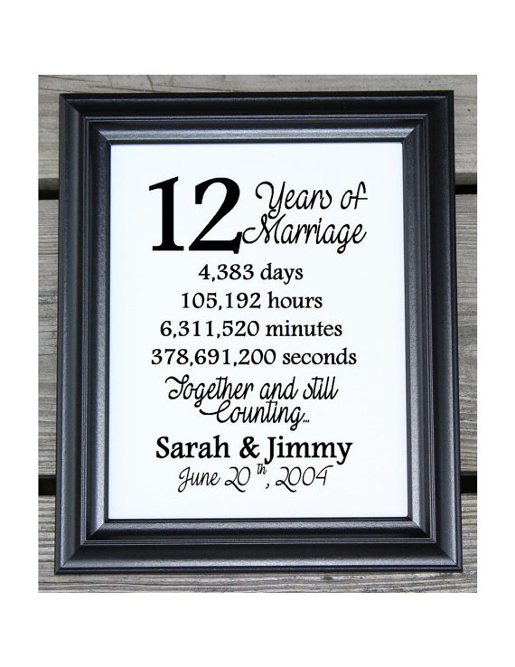 12th Wedding Anniversary Cotton Print 12th Wedding Gift 12 Etsy In 2020 11th Anniversary Gifts 18th Wedding Anniversary 12th Wedding Anniversary