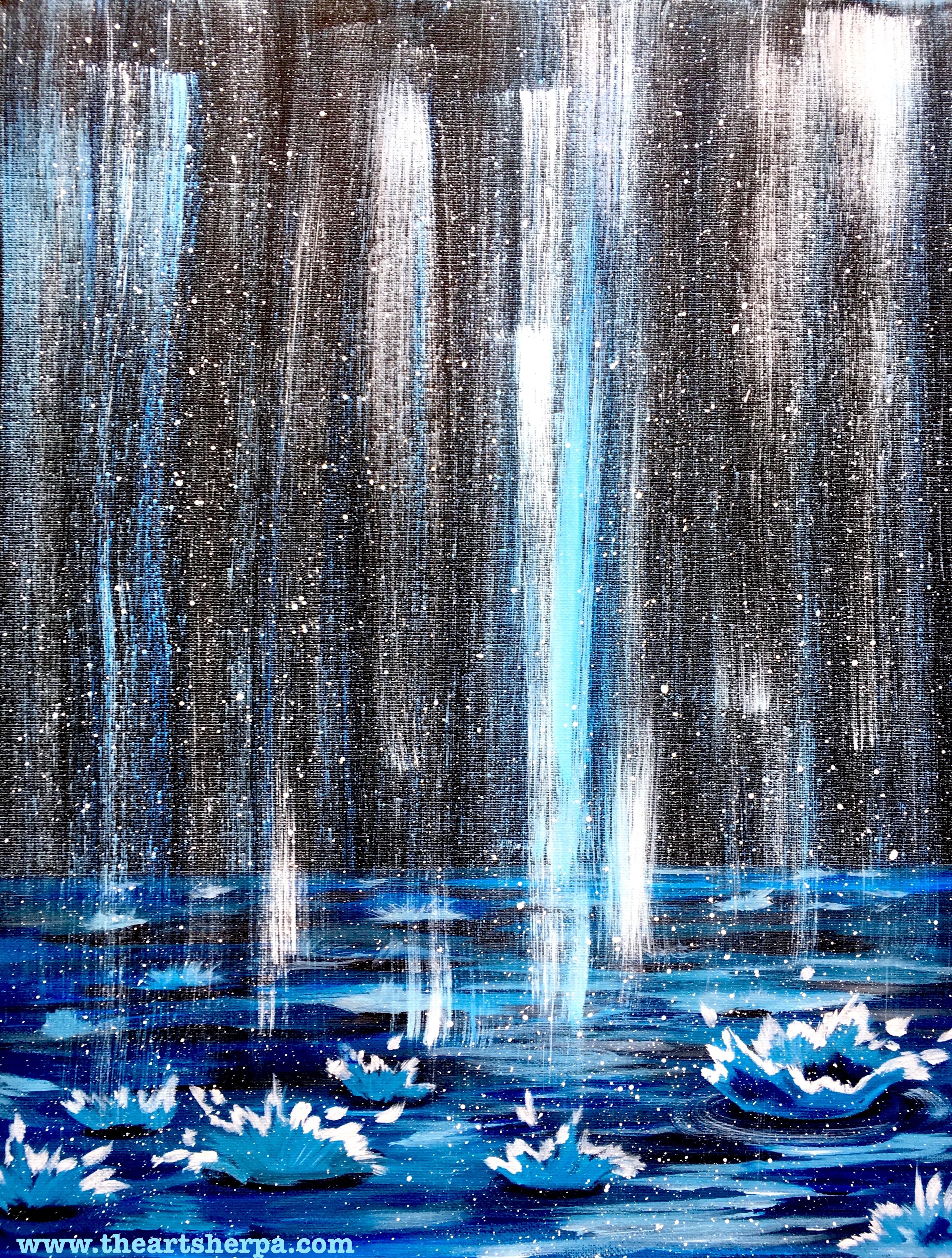 falling rain splashing drops painting full acrylic rainy day