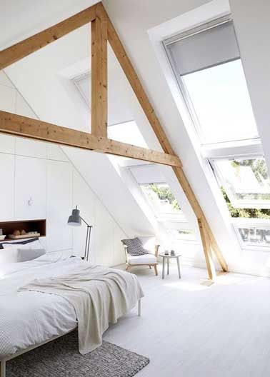 Charpente bois et parquet lazur en d co chambre mansard e deco chambre sous combles - Chambre mansardee deco ...