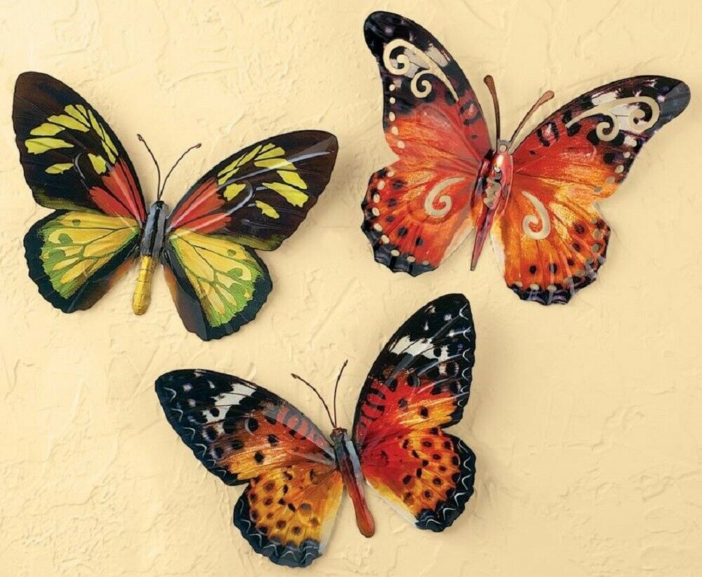 Butterfly Wall Sculptures 3 D Hanging Plaque Set Of 3 Butterflies
