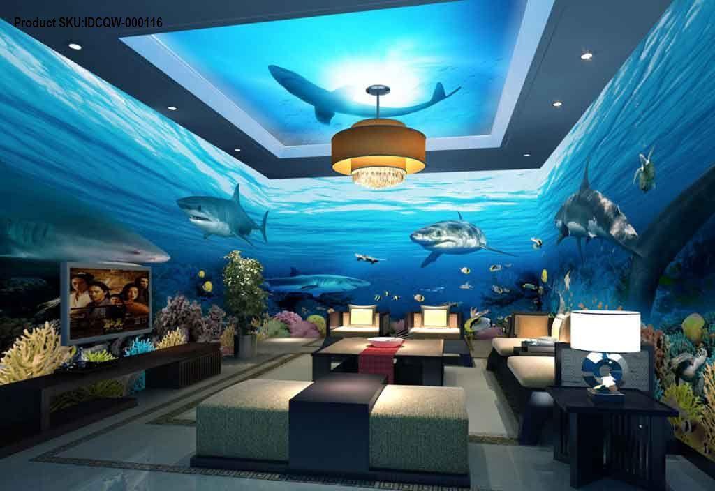 Best 3D Undersea Shark View Entire Room Wallpaper Wall Murals 400 x 300