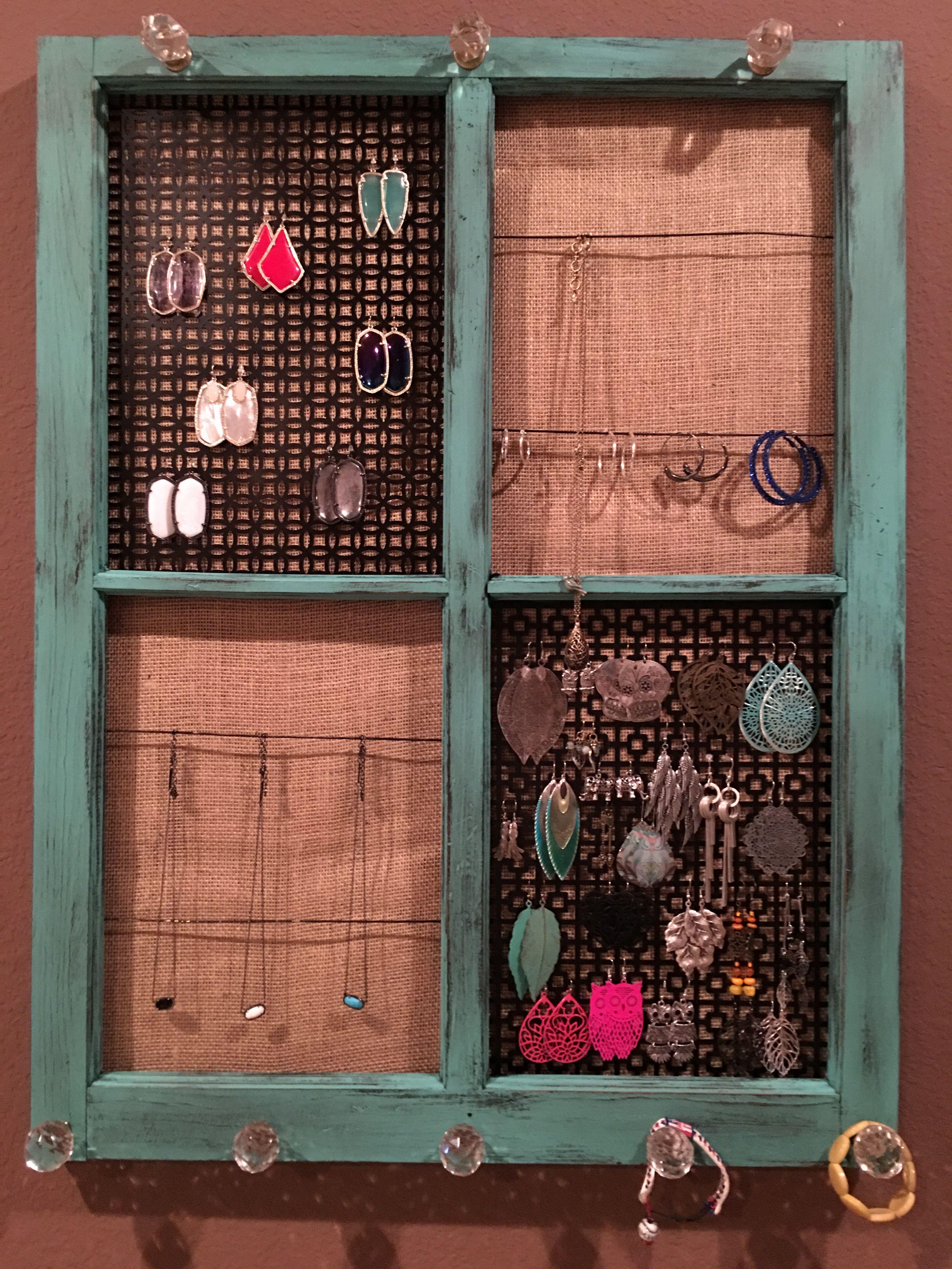 Old window jewelry organizer DIY Pinterest