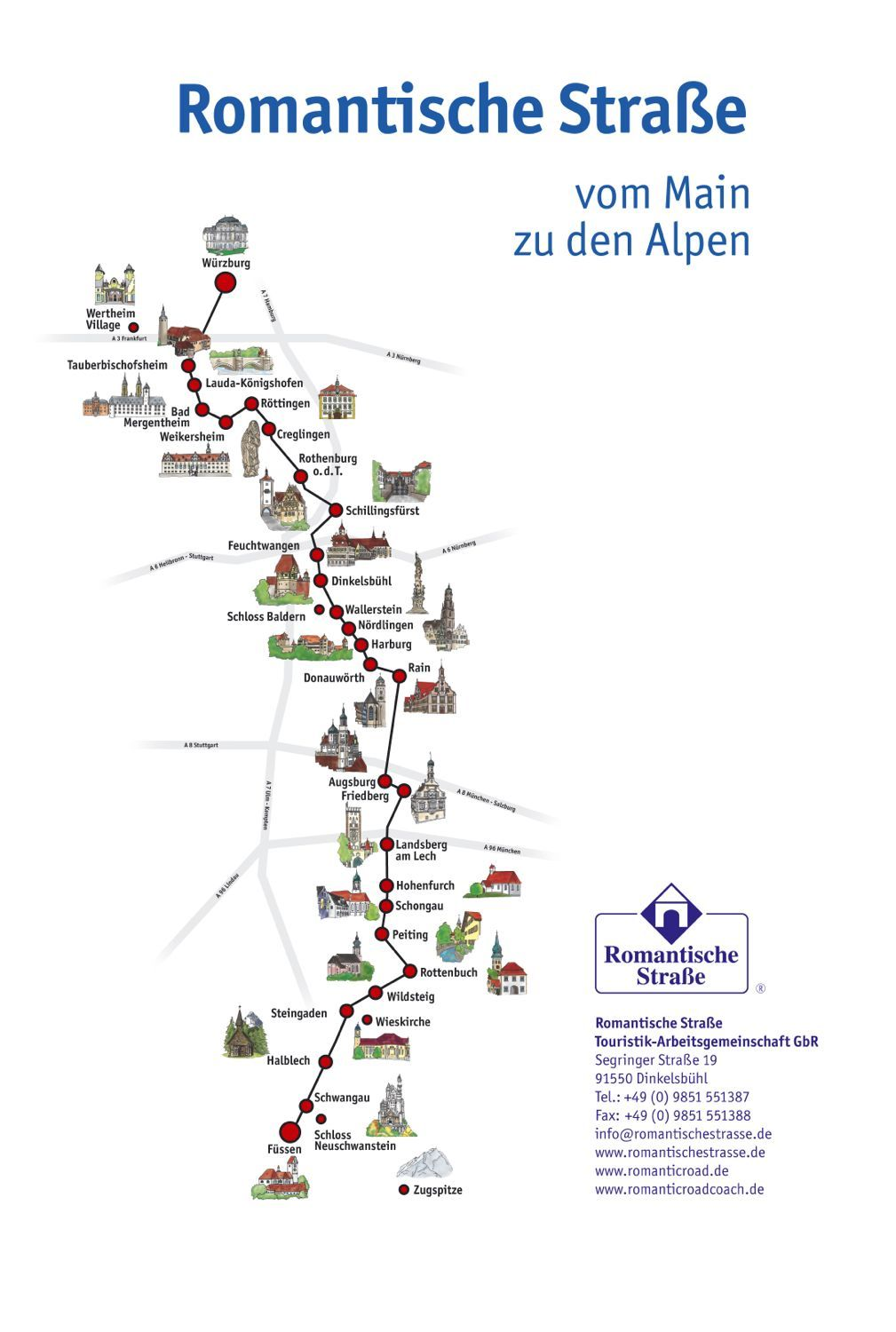 top sights and map of the romantic road germany
