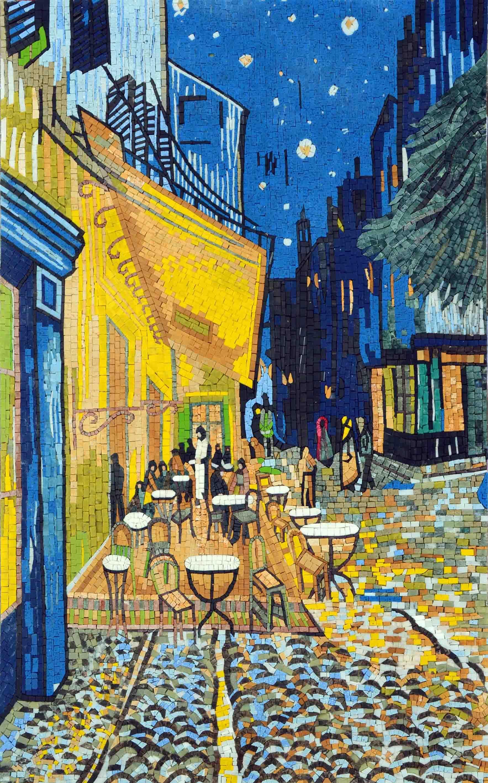 """""""Cafe at Night"""" by Vincent Van Gogh - Mosaic Wall Art ..."""