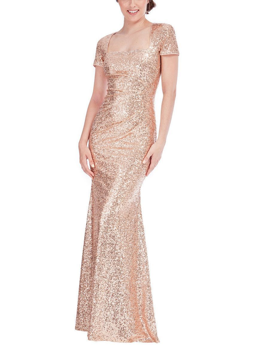 Champagne sequin gown square necklines sequins and champagne