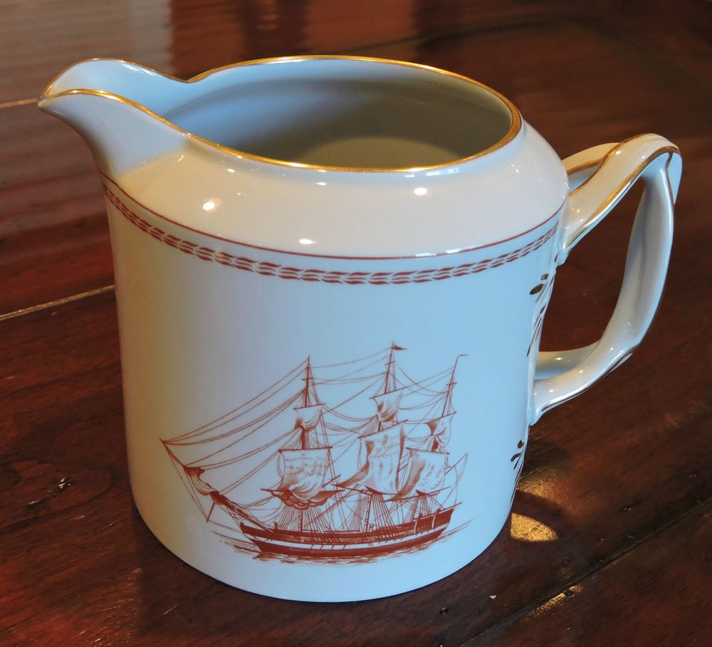 Spode Trade Winds Red Creamer Gold Trim Twisted handles W128-C ...