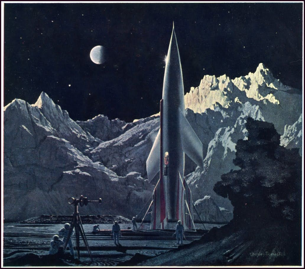 From The Conquest of Space (1953), illustration by Chesley Bonestell