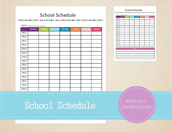 Weekly School Schedule - School Organizer - Student Planner