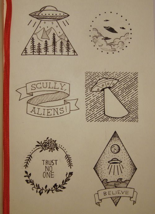 X Files Inspired Designs Sketch Book Tattoos Alien Tattoo