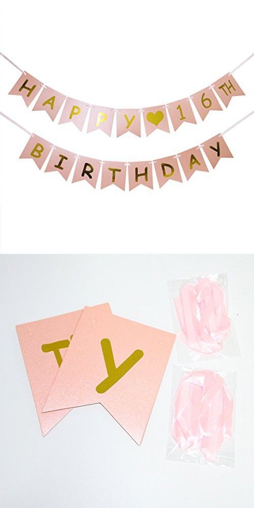 INNORU Happy 16th Birthday Banner  Pink and Gold 16th Birthday Decorations  Sweet 16  Milestone Happy Birthday Decorations