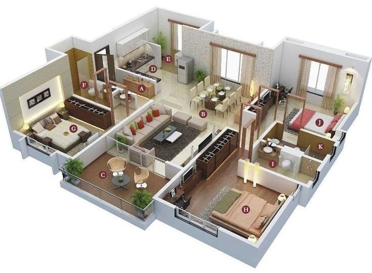 Amazing 3d Floor Plans For You Engineering Basic 3d House Plans Architectural House Plans House Layouts