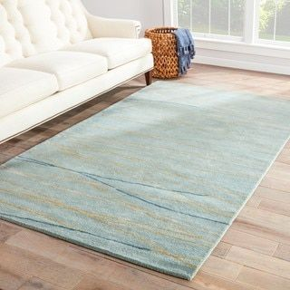 Contemporary Coastal Pattern Blue Wool And Art Silk Area Rug 8 X 11 Cool Rugs Rugs Area Rugs
