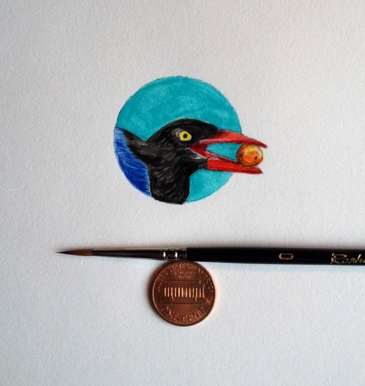 Bird Bit test 3. Starting January 2015 I'll be posting one painting a day on my public Facebook page, BIRD BITS 2015