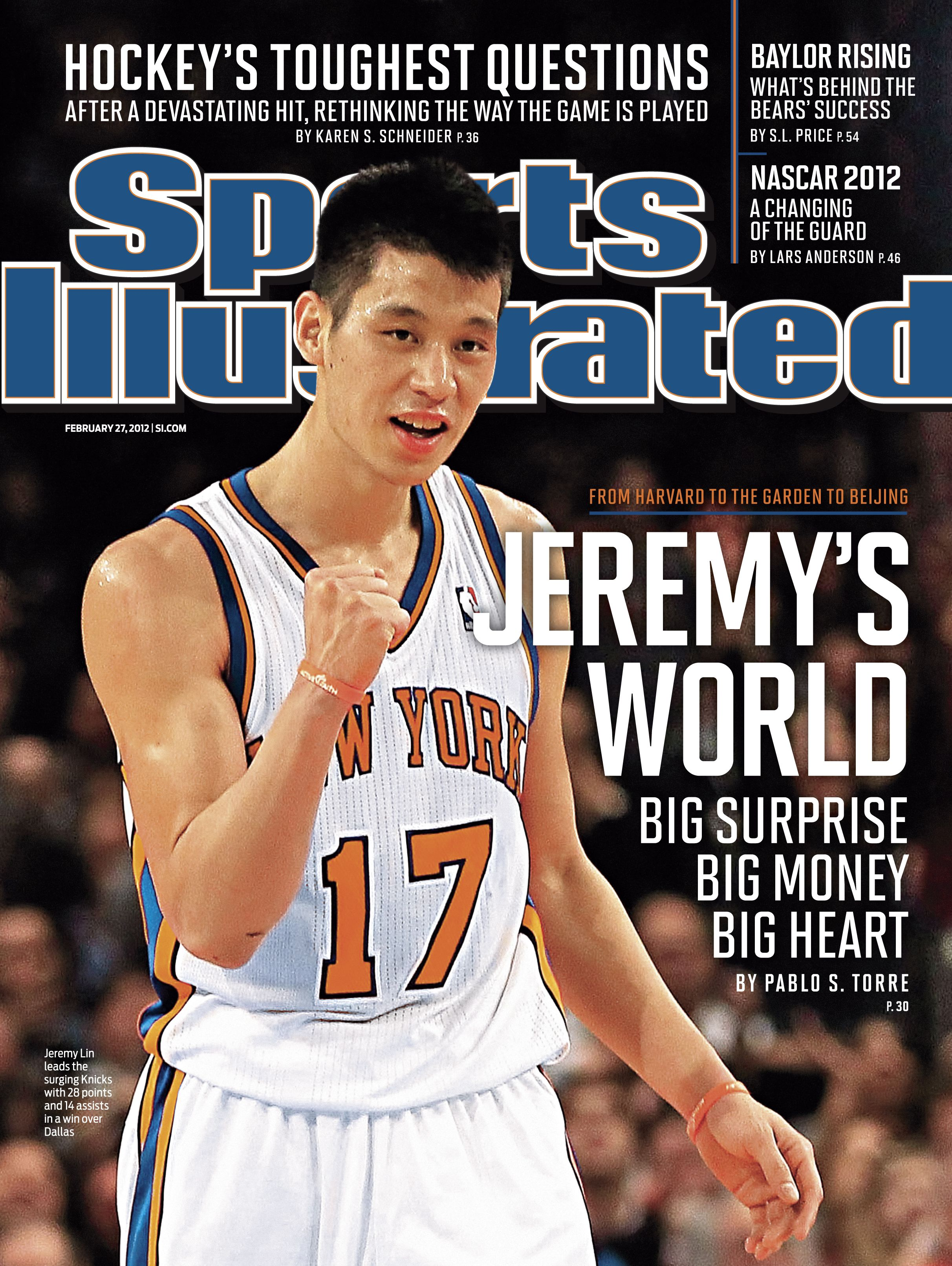 Jeremy Lin on the cover of Sports Illustrated for the second week in a row.  Description from liachang.wordpress.com. I searched for this on  bing.com images 458d8f82a