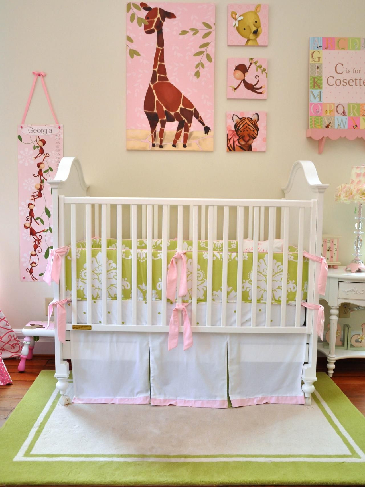 The Jungle Theme Nursery With A Feminine Twist Includes Pink Animal Print Wall Art Green And White Damask Crib Per Ties Coordinates