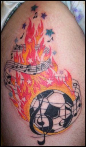 0ffa237d9 Tattoo With Image Flaming Soccer Ball With Music Tattoo Design ...