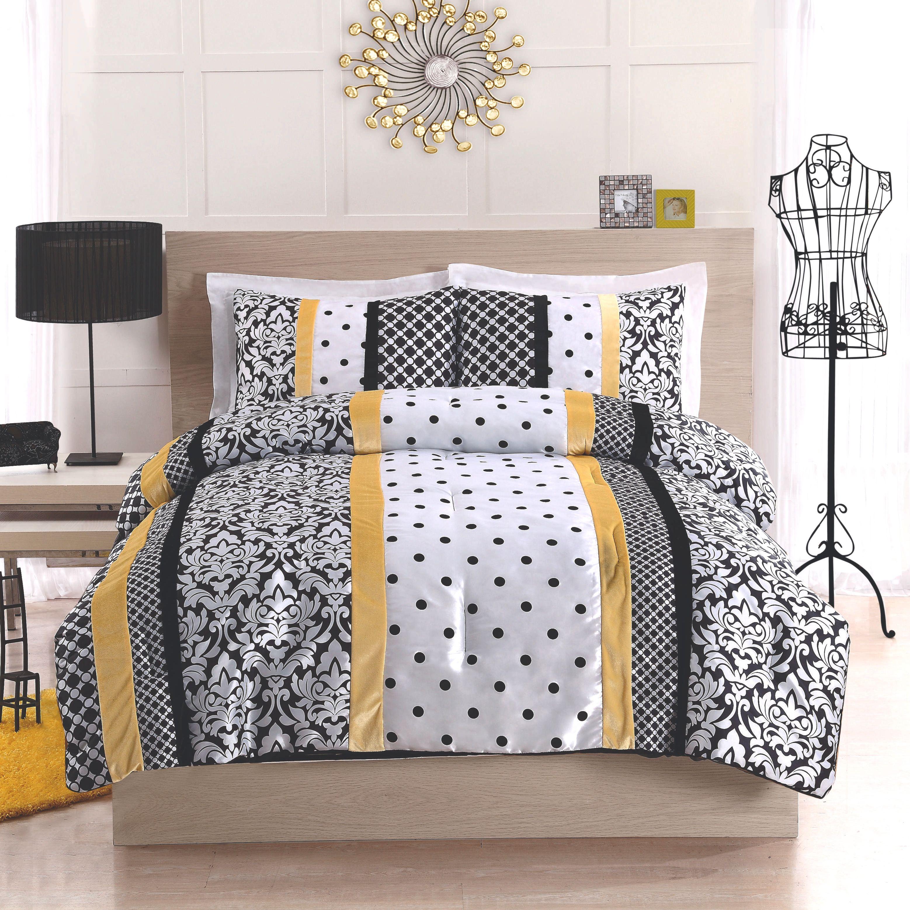 Black Yellow And White Polka Dot Damask Striped Bedding Black