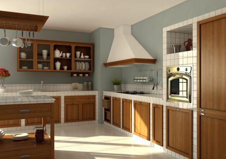 Ante Per Cucina Muratura.Parete Azzurra Arredamento Per Cucina Muratura Bianca Ante Pensili Legno Pavimento Chiaro Cucina In Muratura Cucine Case Di Design