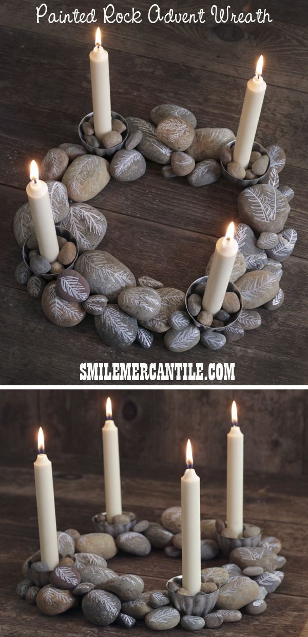 DIY Advent Wreath with Painted Rocks Advent wreath