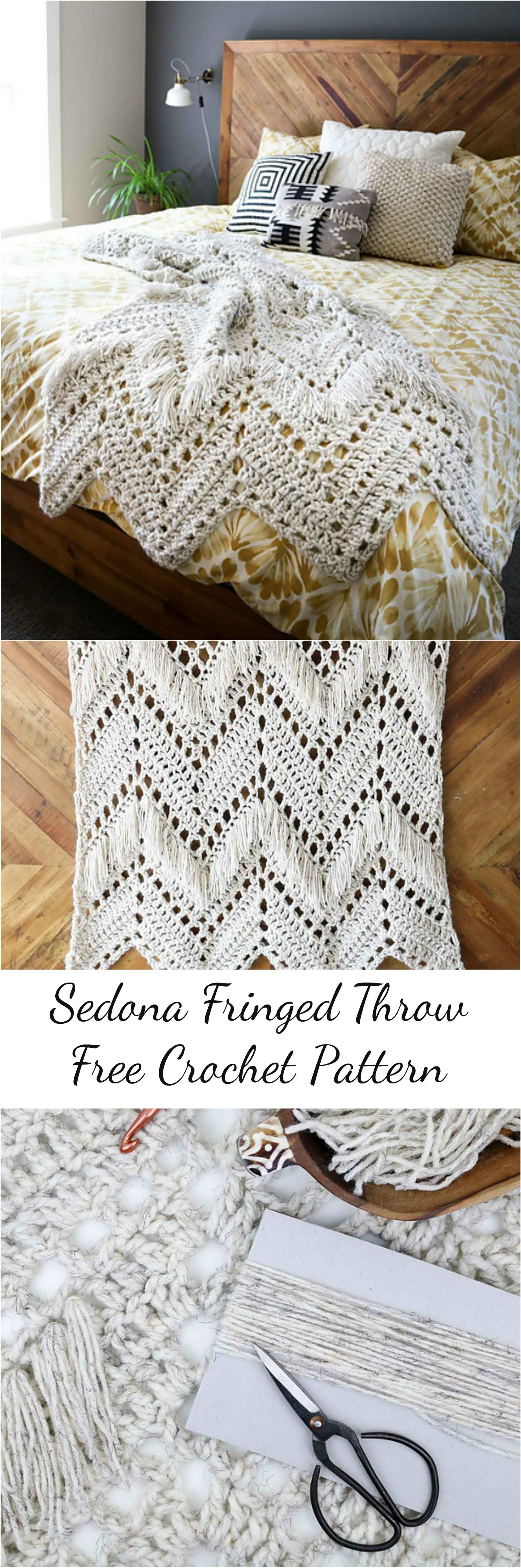 Sedona Fringed Crochet Throw | Manta, Patrones de mantas y Mantas de ...