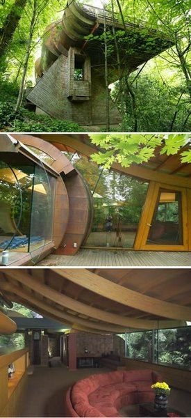 SO unusual and unique. Super intrigued from this picture of the tree house. I love all tree houses but this one really stands out.
