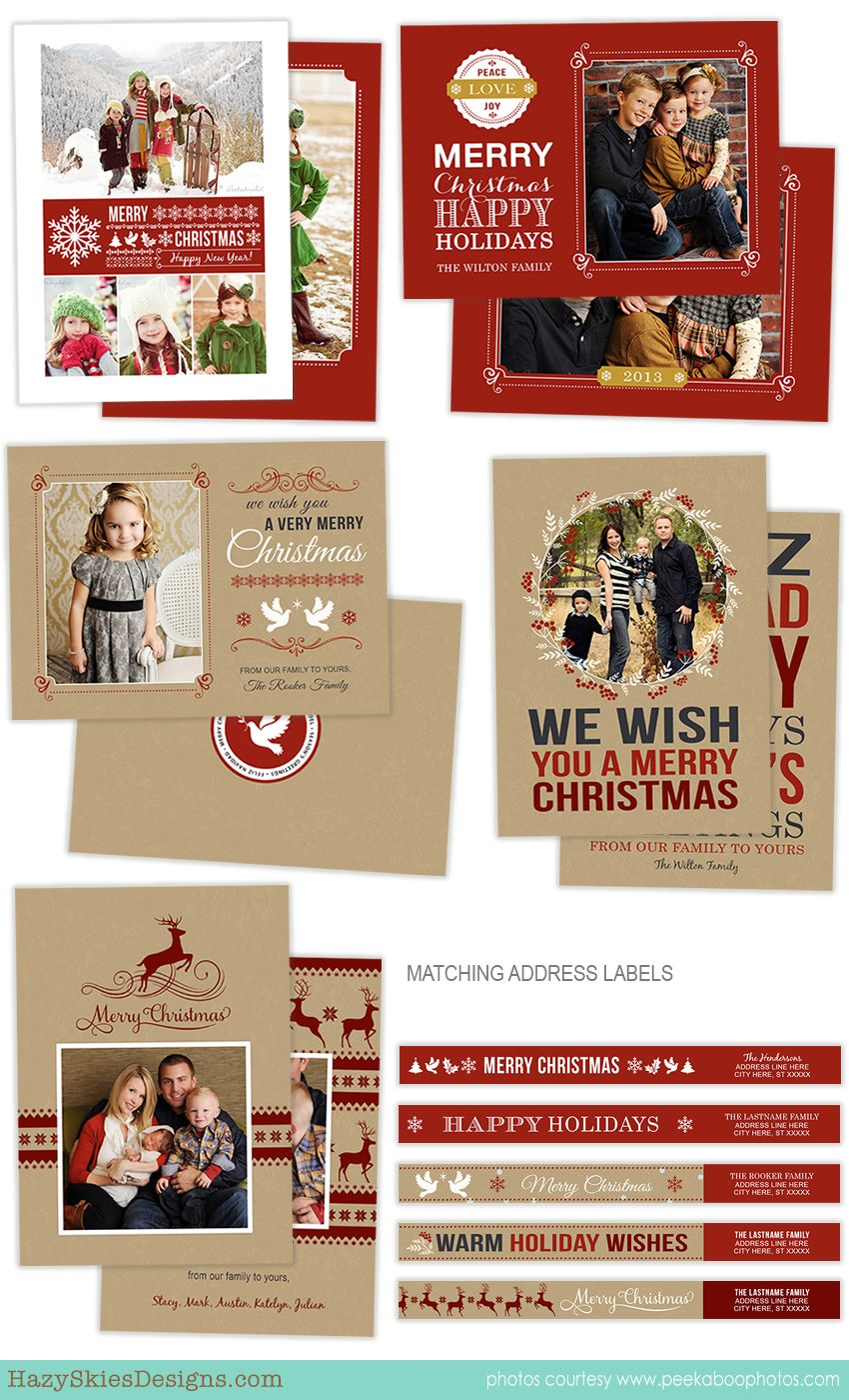 Holiday card photoshop templates for photographers christmas card template holiday for Photoshop christmas cards templates