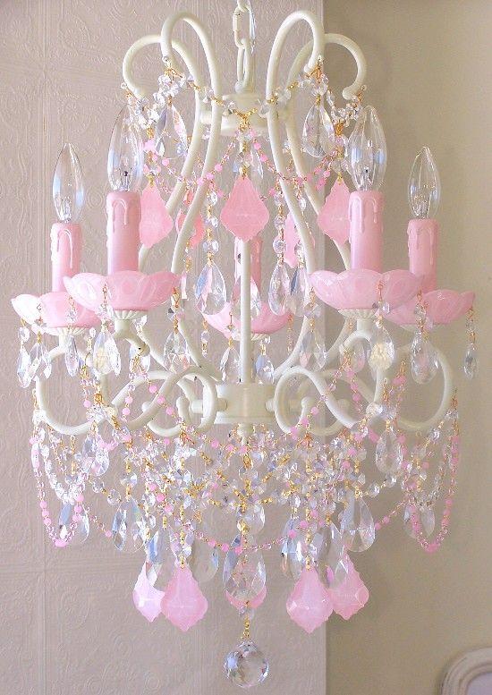 Vintage Inspired Beaded Chandelier 1325 Opal Pink Crystals 5 Light ...