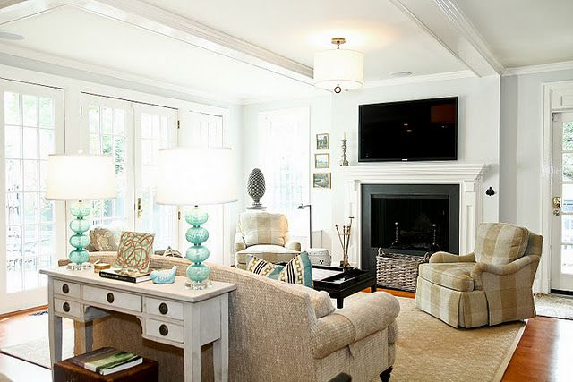 Idea For Furniture Placement Around Tv Mounted Above Fireplace Flanked By Door Window