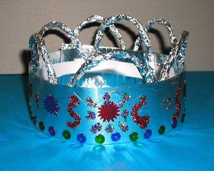 Couronne de roi argent décorée de paillettes - Tête à modeler