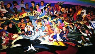 denver international airport murals. one of the disturbing murals in denver international airport. airport