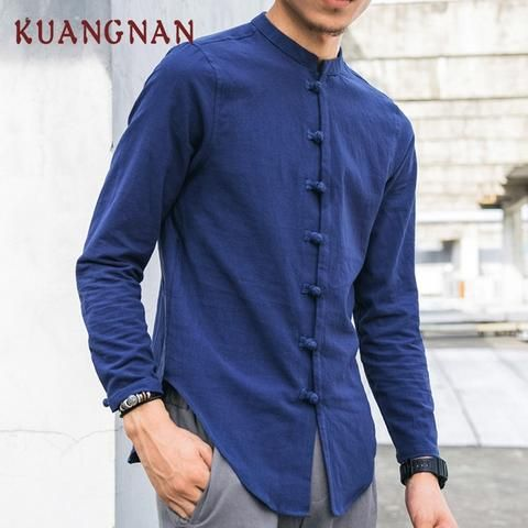 7cf96f4243c KUANGNAN Chinese Casual Shirt Men Vintage Streetwear White Men Shirt Cotton  Linen Shirts Men Clothes 2018 Summer Male Blouse