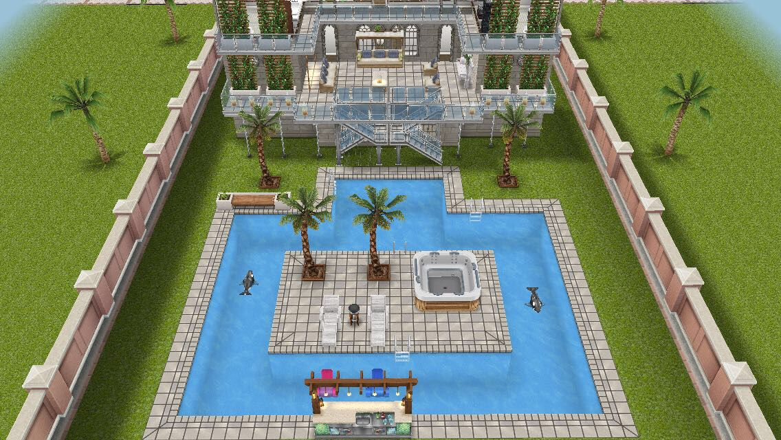 Beach side mansion #sims #freeplay house design - pool complete with bar, island, jacuzzi