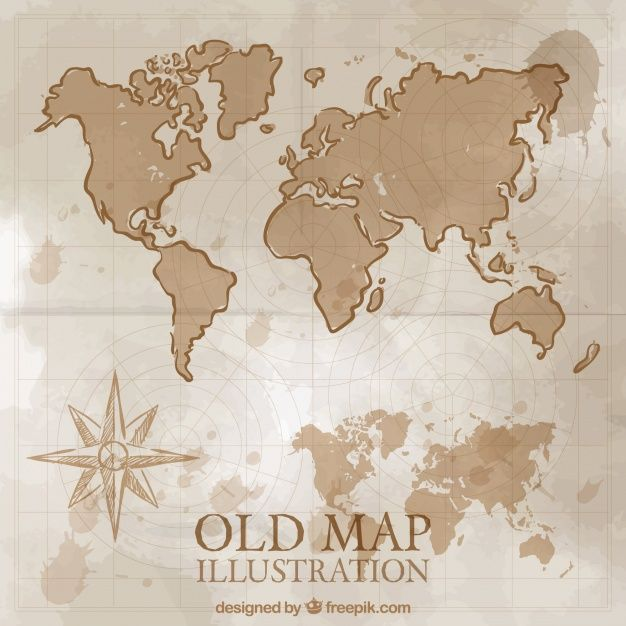 hand drawn vintage world map | Freepik in 2019 | How to draw hands ...
